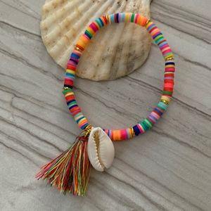 Jewelry - Multi Color Boho Cowrie Shell Tassel Bracelet